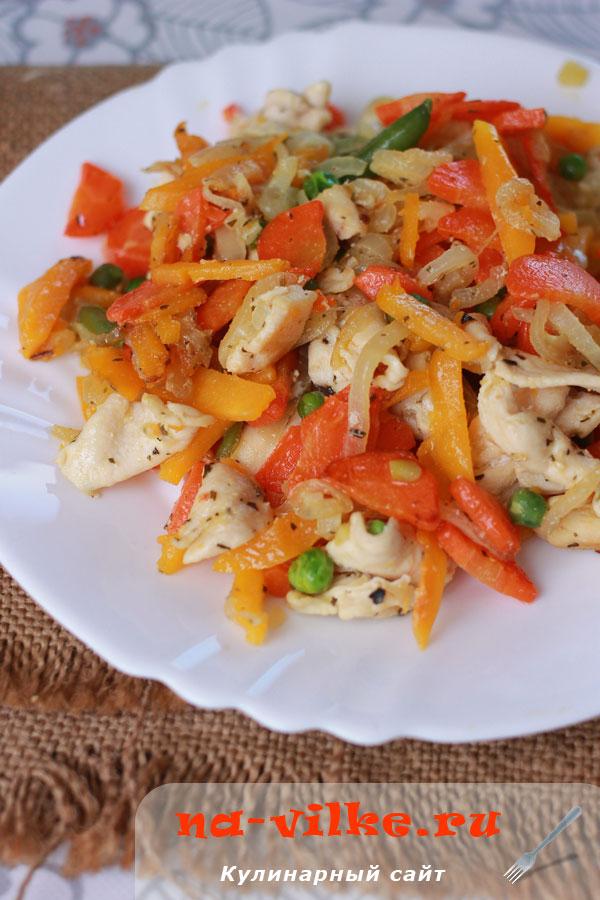 Замороженное филе курицы с овощами