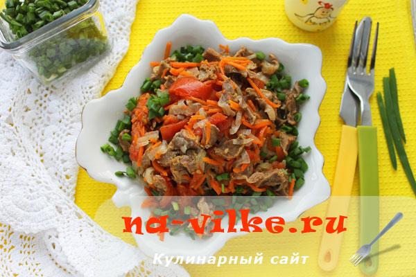 Куриные желудочки с овощами в мультиварке