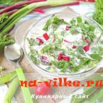 Холодный суп свекольник из ботвы, зелени и овощей.
