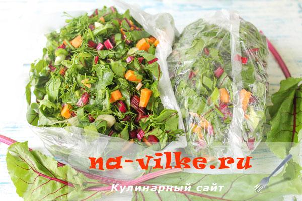 Заморозка для борща смеси из зелени и овощей