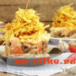 Сытный и вкусный салат блондинка для праздничного меню