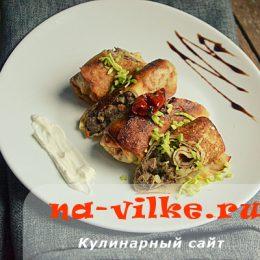 Вкусные закусочные блины с куриными потрохами