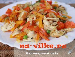 Рагу из замороженного куриного филе и овощей