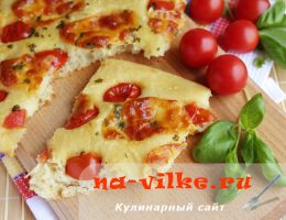 Фокачча с моцареллой и помидорами черри