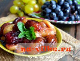 Жарка фруктов в сиропе агавы: яблоки, сливы, виноград, бананы
