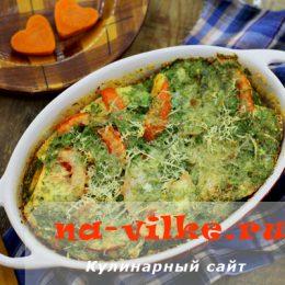 Вкусный пудинг из белого хлеба с сыром и помидорами