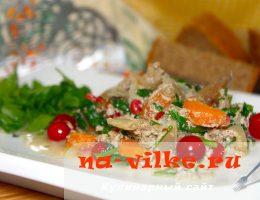 Куриная печень в молочно-сливочном соусе с клюквой