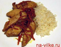 Куриное филе с рисом по-азиатски