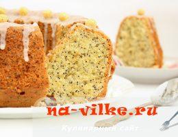 Лимонный кекс с маком и сахарной глазурью