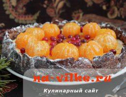 Необыкновенный пирог с творогом и мандаринами в духовке