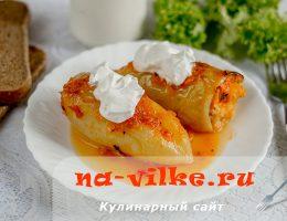 Болгарский перец с куриным фаршем и пшеном в духовке