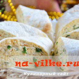 Куриный рулет из лаваша с сыром и зеленью