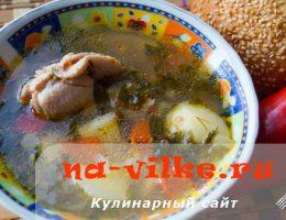 Домашний гречневый суп на курином бульоне