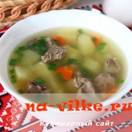 Суп с куриной печенью