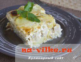 Картофельная запеканка с рыбой хек